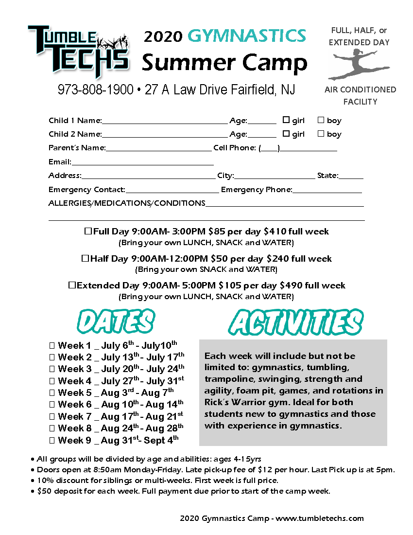 Sumer Camp Form 2020 Gymnastics